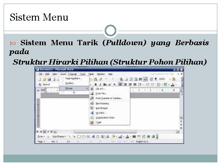 Sistem Menu Tarik (Pulldown) yang Berbasis pada Struktur Hirarki Pilihan (Struktur Pohon Pilihan)