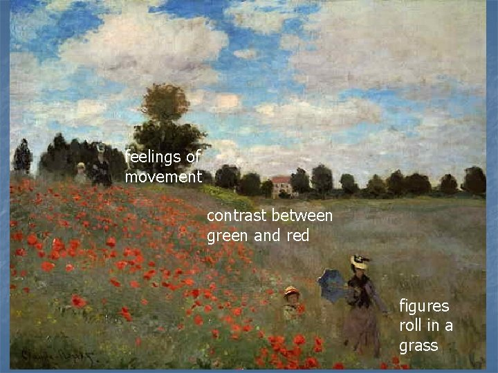 feelings of movement contrast between green and red figures roll in a grass