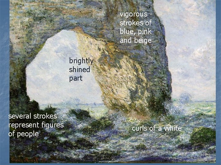 vigorous strokes of blue, pink and beige brightly shined part several strokes represent figures