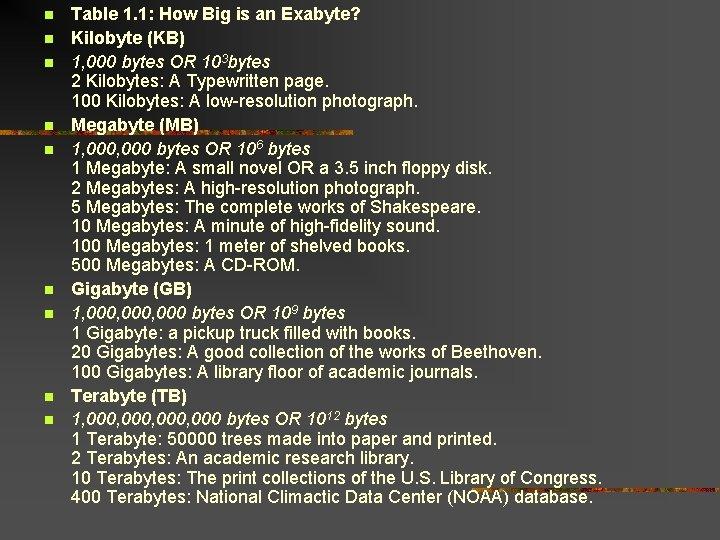 Table 1. 1: How Big is an Exabyte? Kilobyte (KB) 1, 000 bytes