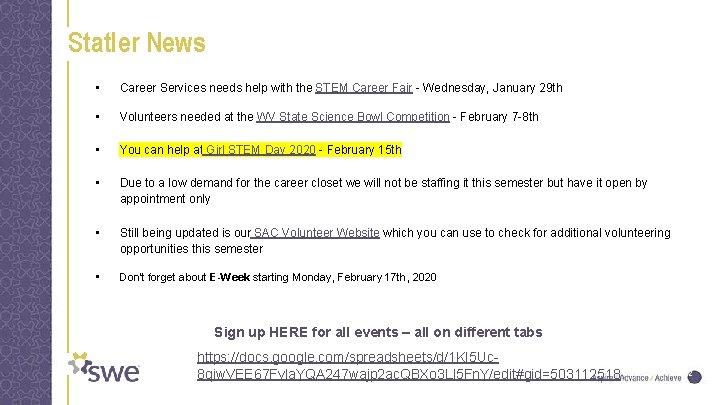 Statler News • Career Services needs help with the STEM Career Fair - Wednesday,