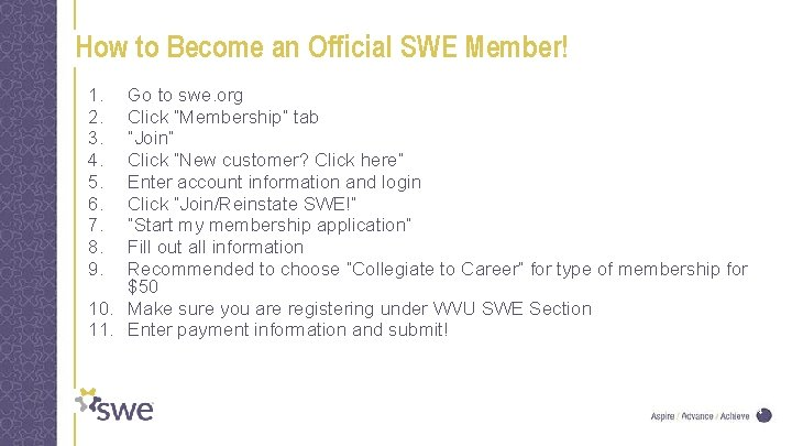 How to Become an Official SWE Member! 1. 2. 3. 4. 5. 6. 7.