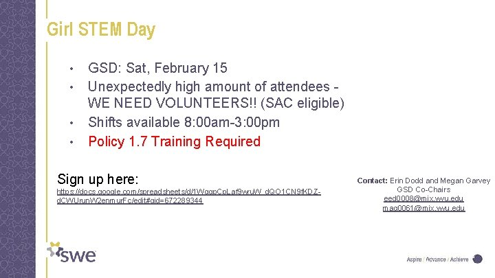 Girl STEM Day • • GSD: Sat, February 15 Unexpectedly high amount of attendees