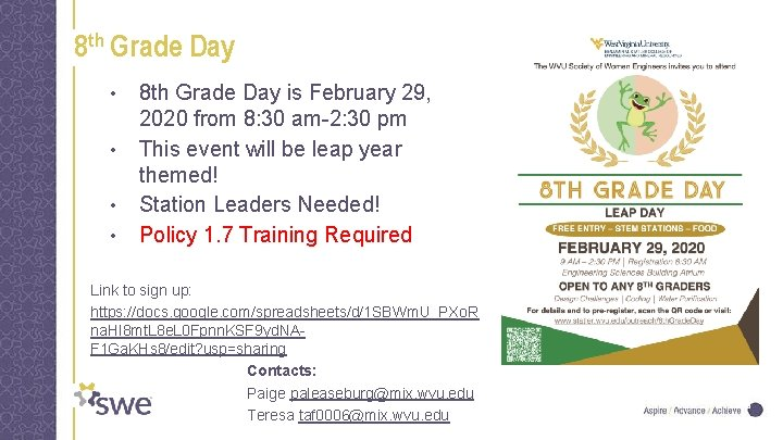 8 th Grade Day • • 8 th Grade Day is February 29, 2020