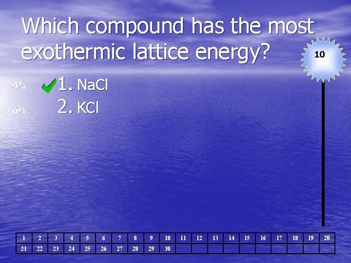 Which compound has the most 10 exothermic lattice energy? 1. Na. Cl 2. KCl