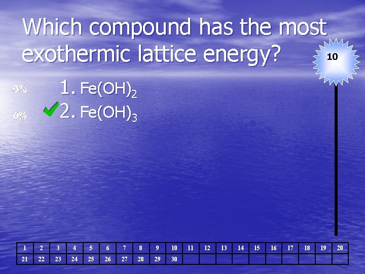 Which compound has the most 10 exothermic lattice energy? 1. Fe(OH)2 2. Fe(OH)3 1