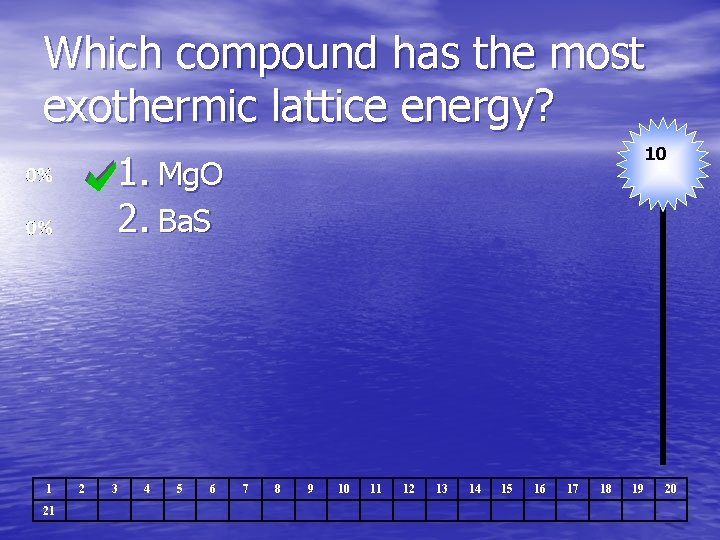 Which compound has the most exothermic lattice energy? 10 1. Mg. O 2. Ba.