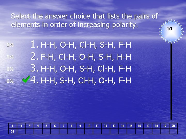 Select the answer choice that lists the pairs of elements in order of increasing
