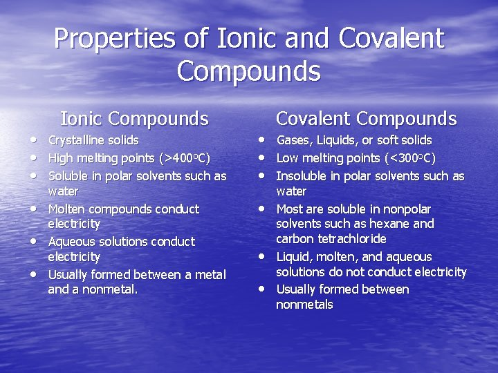 Properties of Ionic and Covalent Compounds • • • Ionic Compounds Crystalline solids High