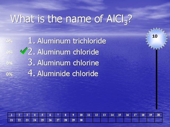 What is the name of Al. Cl 3? 10 1. Aluminum trichloride 2. Aluminum