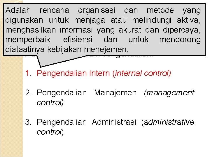 Adalah rencana organisasi dan metode yang digunakan Konsep untuk menjaga melindungi aktiva, Umum atau