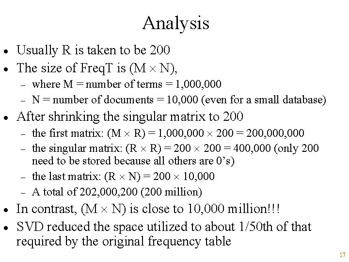 Analysis · · Usually R is taken to be 200 The size of Freq.