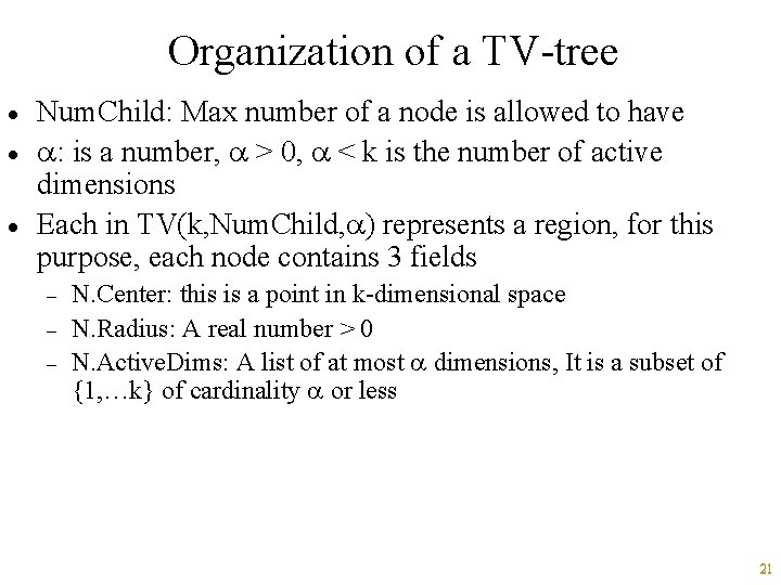 Organization of a TV-tree · · · Num. Child: Max number of a node
