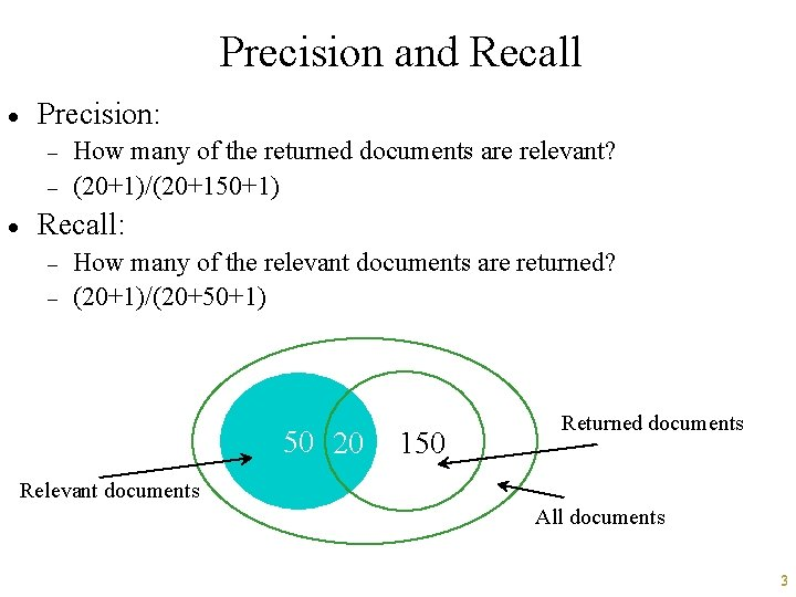 Precision and Recall · Precision: - · How many of the returned documents are