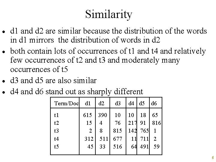 Similarity · · d 1 and d 2 are similar because the distribution of