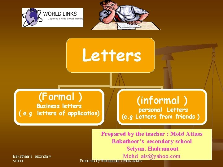 Letters (Formal ) Business letters ( e. g letters of application) Bakatheer's secondary school