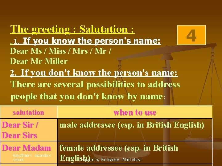 The greeting : Salutation : . 1. If you know the person's name: 4