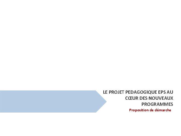 LE PROJET PEDAGOGIQUE EPS AU CŒUR DES NOUVEAUX PROGRAMMES Proposition de démarche