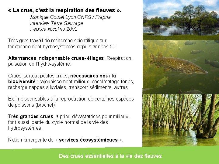 « La crue, c'est la respiration des fleuves » . Monique Coulet Lyon