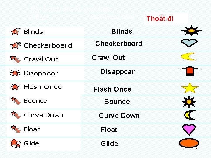 B 3: Click chuét vµo Add NHOÙM HIEÄU ÖÙNG: Effect Thoát đi Blinds Checkerboard