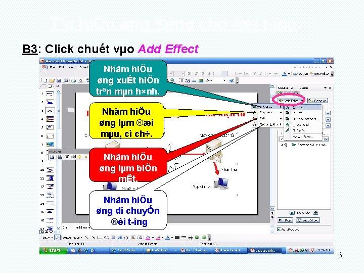 T¹o hiÖu øng ®éng cho ®èi t îng: B 3: Click chuét vµo Add