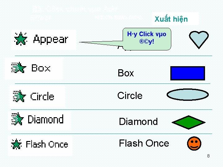 B 3: Click chuét vµo Add NHOÙM HIEÄU ÖÙNG: Effect Xuất hiện H·y Click