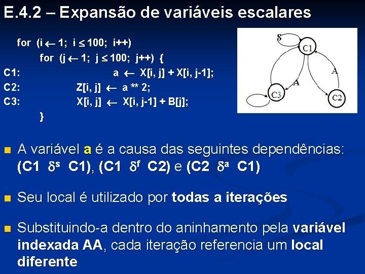 E. 4. 2 – Expansão de variáveis escalares for (i 1; i 100; i++)