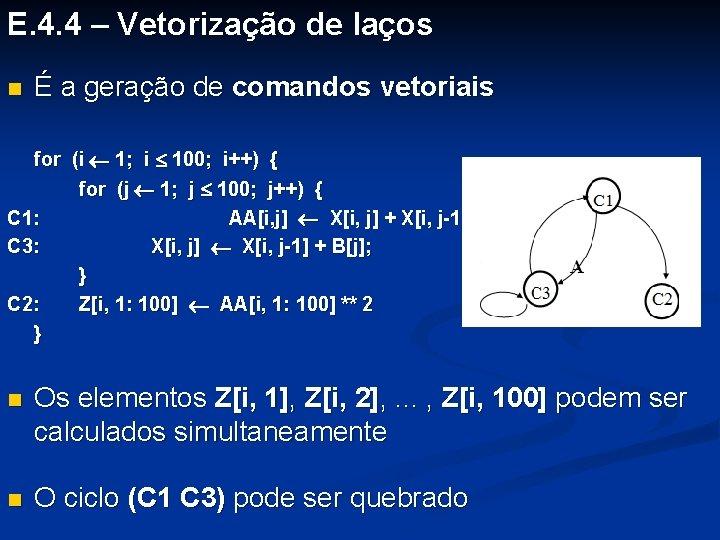 E. 4. 4 – Vetorização de laços n É a geração de comandos vetoriais