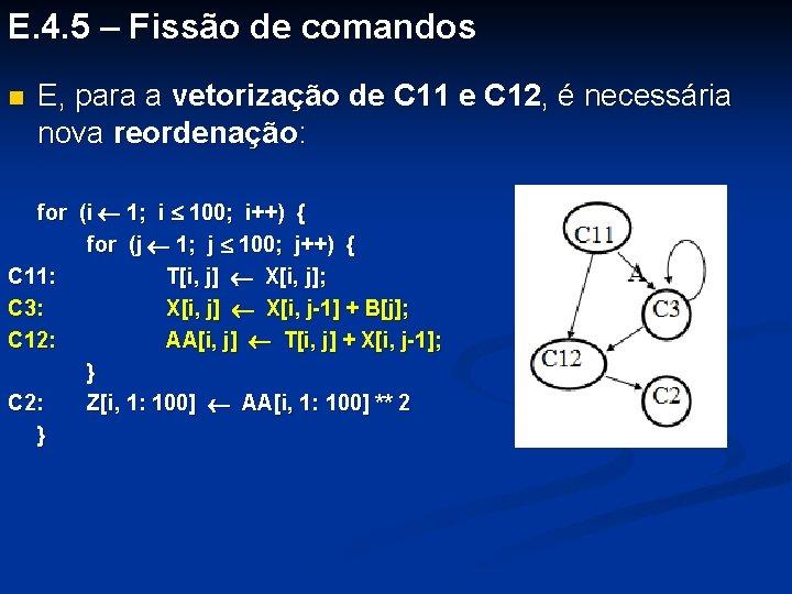 E. 4. 5 – Fissão de comandos n E, para a vetorização de C