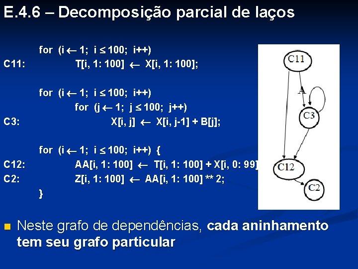 E. 4. 6 – Decomposição parcial de laços C 11: for (i 1; i