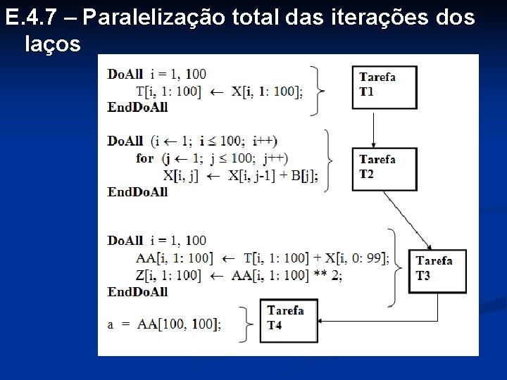 E. 4. 7 – Paralelização total das iterações dos laços