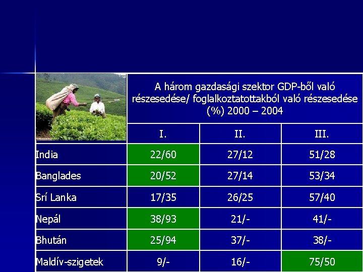 A három gazdasági szektor GDP-ből való részesedése/ foglalkoztatottakból való részesedése (%) 2000 – 2004