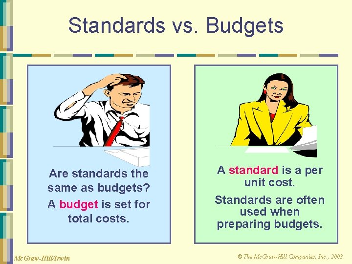 Standards vs. Budgets Are standards the same as budgets? A budget is set for