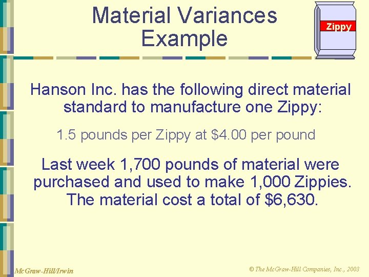 Material Variances Example Zippy Hanson Inc. has the following direct material standard to manufacture