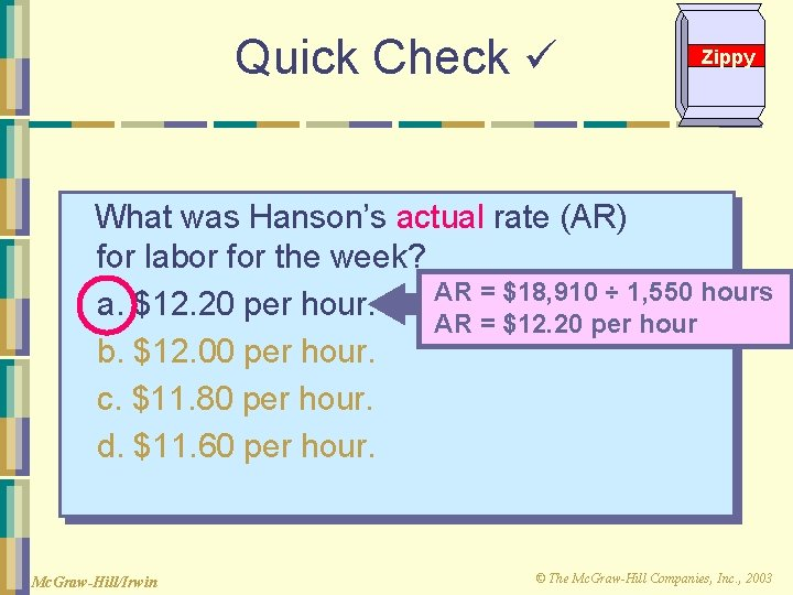 Quick Check Zippy What was Hanson's actual rate (AR) for labor for the week?
