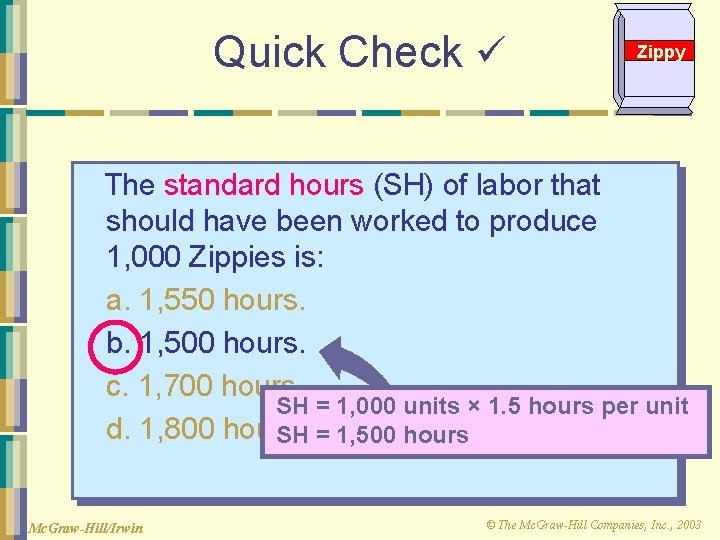 Quick Check Zippy The standard hours (SH) of labor that should have been worked