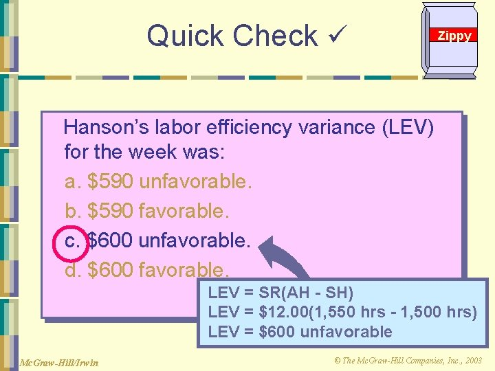 Quick Check Zippy Hanson's labor efficiency variance (LEV) for the week was: a. $590