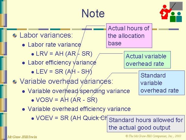 Note Labor variances: l l Labor rate variance l LRV = AH (AR -