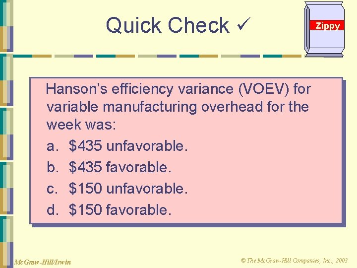 Quick Check Zippy Hanson's efficiency variance (VOEV) for variable manufacturing overhead for the week