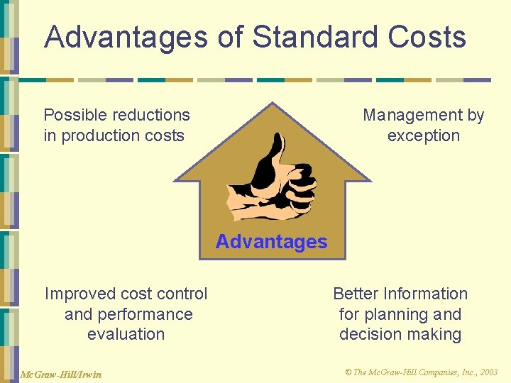 Advantages of Standard Costs Possible reductions in production costs Management by exception Advantages Improved