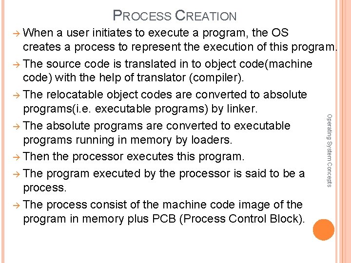 PROCESS CREATION When a user initiates to execute a program, the OS Operating System