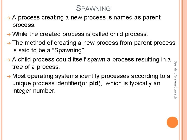 SPAWNING A process creating a new process is named as parent Operating System Concepts