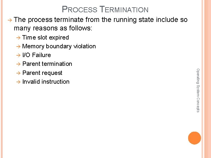 PROCESS TERMINATION The process terminate from the running state include so many reasons as