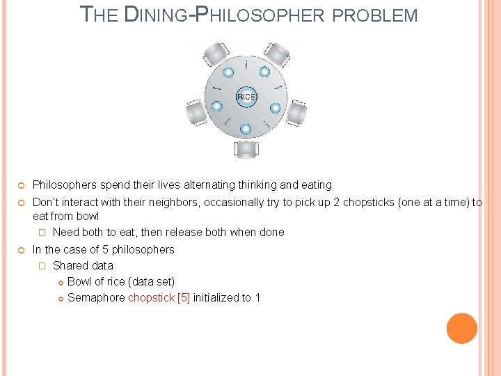 THE DINING-PHILOSOPHER PROBLEM Philosophers spend their lives alternating thinking and eating Don't interact with
