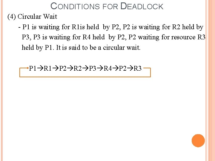 CONDITIONS FOR DEADLOCK (4) Circular Wait - P 1 is waiting for R 1