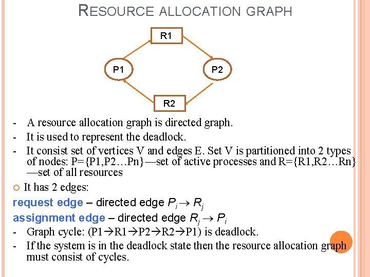 RESOURCE ALLOCATION GRAPH R 1 P 2 R 2 - A resource allocation graph