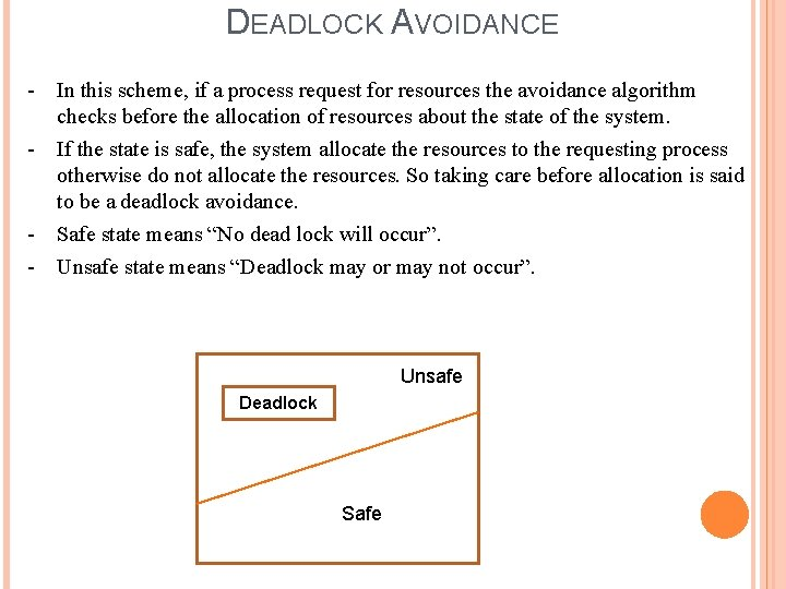 DEADLOCK AVOIDANCE - In this scheme, if a process request for resources the avoidance