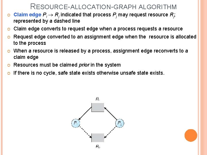 RESOURCE-ALLOCATION-GRAPH ALGORITHM Claim edge Pi Rj indicated that process Pj may request resource Rj;