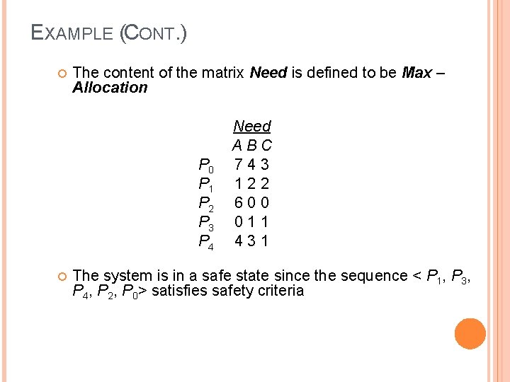 EXAMPLE (CONT. ) The content of the matrix Need is defined to be Max