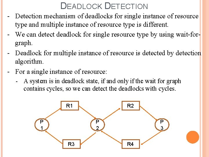 DEADLOCK DETECTION - Detection mechanism of deadlocks for single instance of resource type and